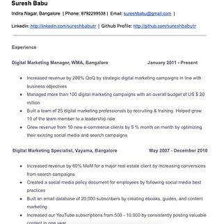 Digital Marketing Resume Sample for an Experienced Digital Marketer