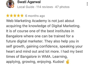 Web Marketing Academy Rated as The Best Digital Marketing Training Institute in India