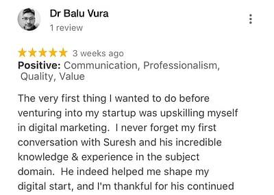 Dr. Balu - Web Marketing Academy Students Reviews