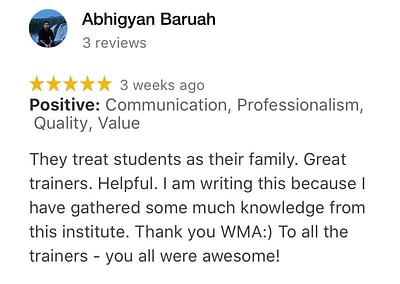WMA Students Reviews. Rated 5/5 stars
