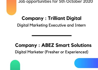 Digital Marketing Job Opportunities for WMA Alumni, October 2020