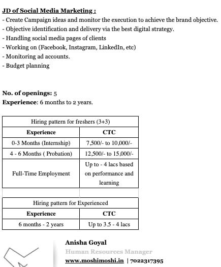 Digital Marketing Job Requirements in Bangalore