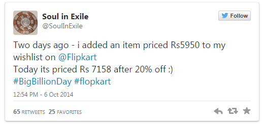Big Billion Sale tweet